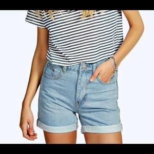 BooHoo High Waisted Vintage Denim Mom Shorts